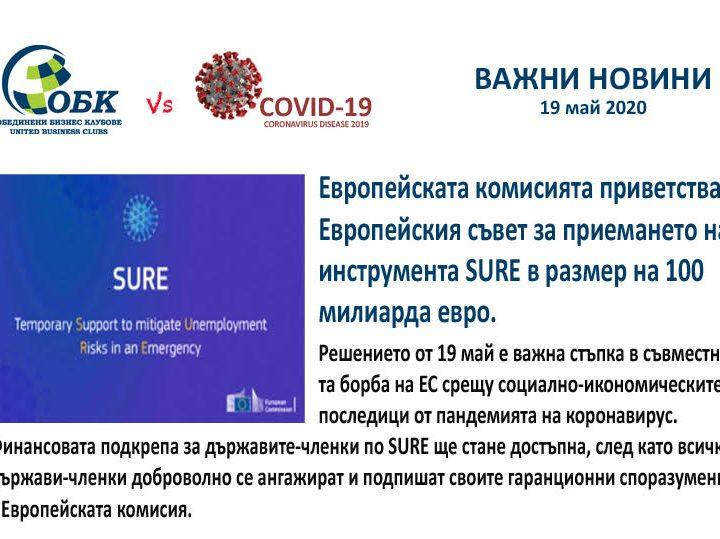 Eвропейски инструмент за временна подкрепа за намаляване на рисковете от безработица при извънредни ситуации (SURE).